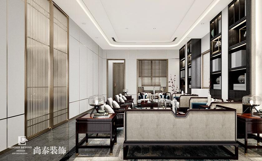 500㎡新中式会所客厅设计效果图