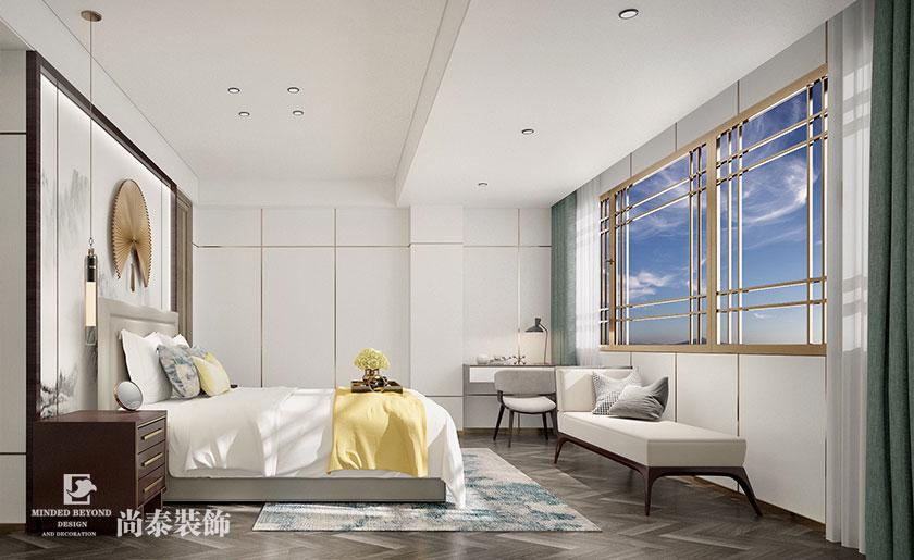 500㎡新中式会所卧室设计效果图