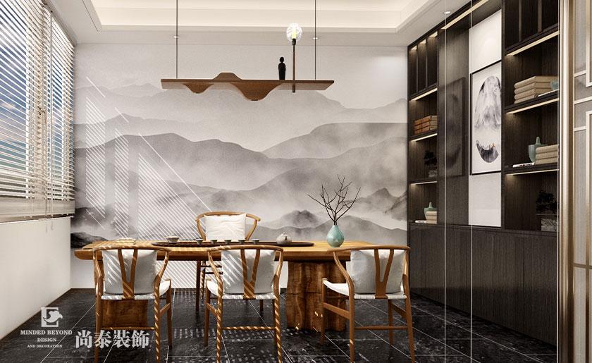 500㎡新中式会所茶室设计效果图