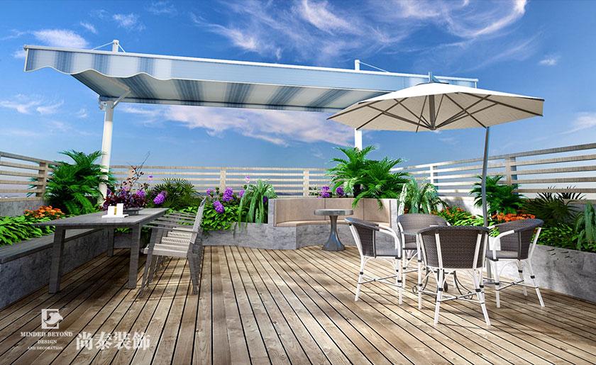 500㎡新中式会所空中花园设计效果图